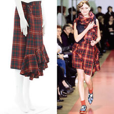 COMME DES GARCONS AW99 punk red tartan plaid ruffle hem layered wrap pin skirt M