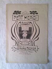 """PARTITION ANCIENNE : """"Petit Merci"""", début XXè"""