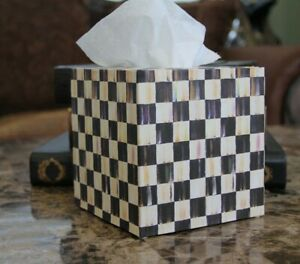 ❤️Tissue Box Cover made with Mackenzie Childs Courtly Check Tissue Paper❤️