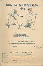 BAL DE L'INTERNAT 1909 Carton d'invitation Femme illustré par PRILLEAU + Coupon