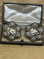 Vintage Diamanté Statement Clip On Earrings