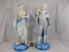 2 sehr fein bemalte antike Bisquit Porzellan Figuren PAUL DUBOY Frankreich