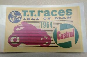 Isle of Man TT Races 1964 ( IOM ) - Original NOS Water Transfer /  Sticker