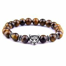 Natural Stone Bracelet Healing Energy Bracelets Men Women Leopard Head Jewelry