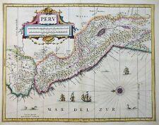 MERCATOR HONDIUS SÜDAMERIKA KÖNIGREICH PERU JANSSONIUS SCHIFFE SEEMONSTER 1633