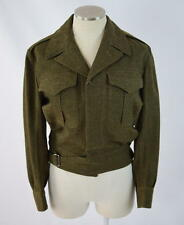 Vtg Green Gaberdine Wool Belted Crop Military Bomber Jacket Coat Mens XS Short
