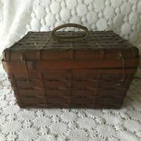 Wicker Bamboo Woven Square Double Handled Vintage Antique Sewing Basket