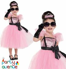 Girls Glam Pink Princess Audrey Hepburn Tiffany 50s 60s Fancy Dress Costume