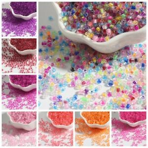 2-4mm Dye Core Oval Glass Loose Beads DIY Jewelry Material Accessories