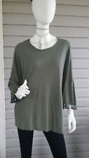 MICHELLE by Comune Army Green Tunic Top Shirt M Tassel Sleeve OVERSIZE Stretchy