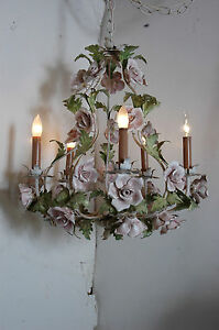 "Chandelier Working Cage Style 30 Roses Porcelain 5 Arm Metal Leaves 20""x 20"" VTG"