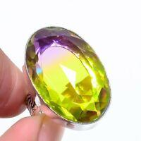 Bi-Color Tourmaline Gemstone Handmade Ethnic Style Jewelry Ring Size 8 VS-116