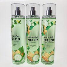 LOT 3 Bath & Body Works Cucumber Melon Fragrance Mist Body Spray FULL SIZE