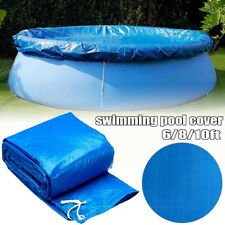 Blue 6/8/10ft Round Swimming Paddling Pool Cover Inflatable Easy Fast Set Rope
