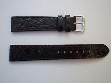 20MM BLACK CROCODILE GRAIN WATCH STRAP WITH SILVER COLOURED BUCKLE