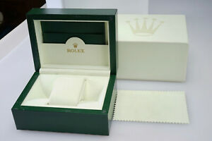 Vintage Rolex Watch Box Case - Green Wood Display Case with Outer Box