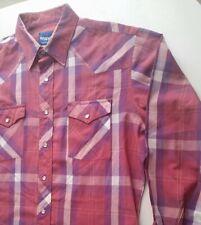 Rare Wrangler Shirt LARGE Long Sleeve L maroon purple pearl snap vtg western