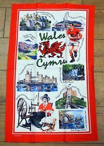 ICONIC WALES  pictorial design cotton TEA TOWEL,  Wales, Cymru, Welsh