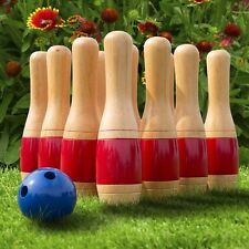 "Outdoor 11"" Wooden Lawn Bowling Set Kids Family Grass Play Games Yard Vacation"