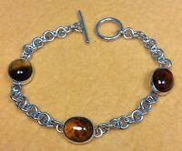 "Vintage 925 Sterling Silver/Amber Gemstone 7"" Bracelet Fine Jewelry"