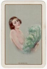 Playing Cards 1 Swap Card Old Vintage THE GREEN FAN Flapper Girl OSTRICH FEATHER