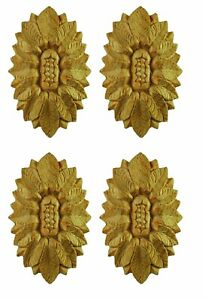 Period House Wooden Medallions Set of Four Furniture Onlays Hand Carved - PGX921