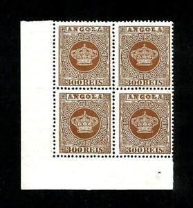 ANGOLA-Quadra,canto de folha,selos COROA Nº9.MNG.
