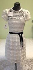 RED VALENTINO Iconic Ivory Lace Baby Doll DRESS w/Black Grosgrain Ribbon BNWT