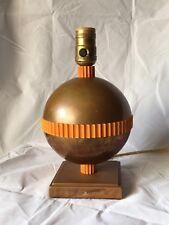 Vtg Chase Table Lamp Copper & Bakelite Art Deco Walter Von Nessen Planet Round