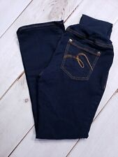 "Indigo Blue Maternity Pants Sz PM Inseam 27"" Straight Leg Dark Wash"