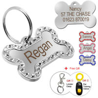 Bling Personalised Dog Tag Bone ID Collar Tags Disc Disk Puppy Pet Name Engraved