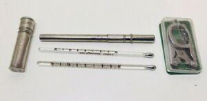 Vintage Nurses Medical Supplies Thermometer & Case, Pill Case & Folding Scissors