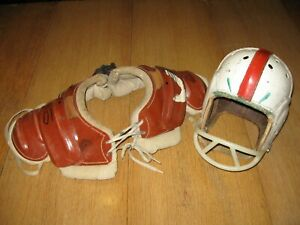Vintage Rawlings Leather Football Helmet with Lowe Campbell Pads - Personalized