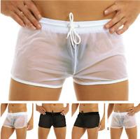 Mens Drawstring Swim Shorts Swimwear Trunks Underwear Sheer Boxer Briefs Pants
