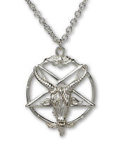 Sterling Silver Baphomet Goat Head Satanic Pendant Necklace SSNKCHAIN-546
