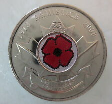 2008 CANADA 25¢ POPPY COLORED QUARTER BRILLIANT UNCIRCULATED