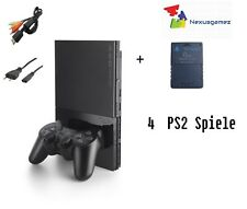 Sony PlayStation 2 Slim 4GB Spielekonsole (PAL - SCPH-90004) + 4 SPIELE (USK16)