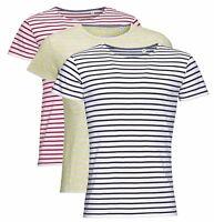 Pour Hommes Bleu ou Rouge et Blanc Rayé Gris Jaune Rayure T-Shirt