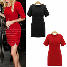 Cotton Blend Scoop Neck Short Sleeve Dresses for Women