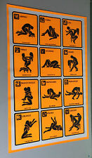 original vintage black light poster zodiac sign 12 sex positions man woman 1972