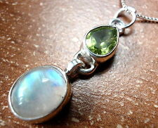 Faceted Peridot and Rainbow Moonstone Pendant 925 Sterling Silver 4.5ct New