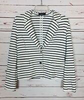 THML Stitch Fix Women's S Small White Striped Knit Cute Spring Cardigan Jacket