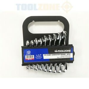 9 piece Stubby Combination Spanner Set Metric 6 to 14mm Toolzone SP172