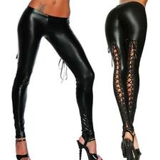 UK Womens Sexy/Sissy Lace PVC Black Faux Leather Wet Look Lingerie Stockings