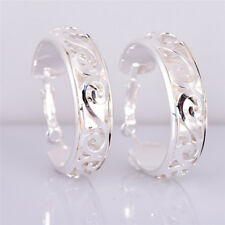Silver Plated Women Round Hoop Studs Dangle Earrings Ear Stud Jewelry Gorgeou JL