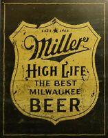 PLAQUE METAL PUBLICITAIRE vintage usa BIERE MILLER beer - 41 X 32 cm