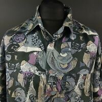 EUROTRAD Mens Vintage Summer Hawaiian Shirt Retro XL Short Sleeve Abstract Silk