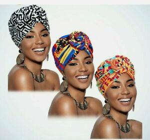 Ankara Print style African stretch Head Wrap scarf Hats- Hijab Turban chemo cap