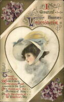 Valentine - Beautiful Woman Winsch Schmucker SILK c1910 Postcard