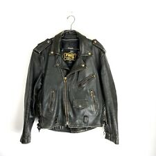 Vtg First Leather Genuine Leather Motorcycle Jacket Steampunk Sz 44 Black Mens